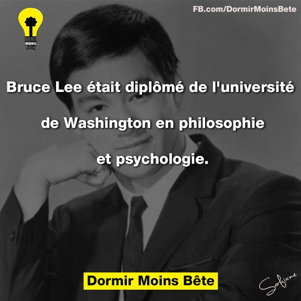Bruce Lee était diplômé de l'université de Washington en philosophie et psychologie.