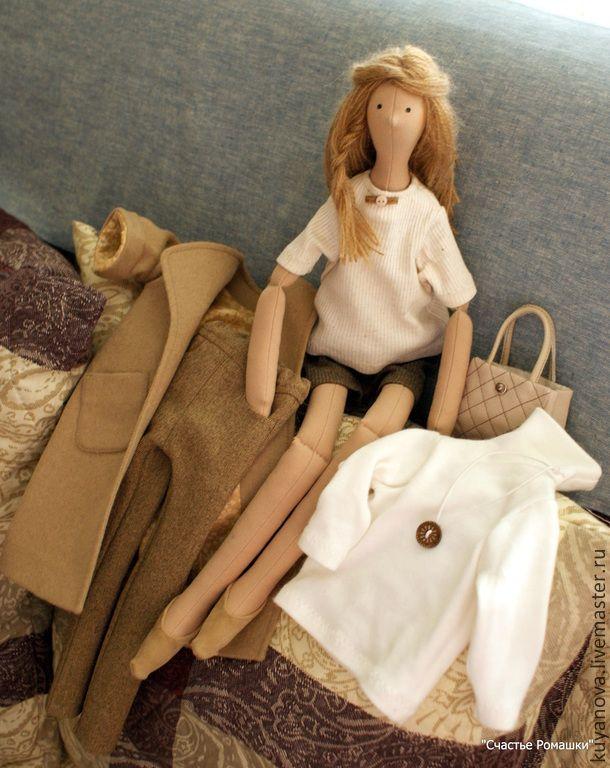 Купить Городское утро. Кофе со сливками. - бежевый, текстильная кукла, тильда кукла