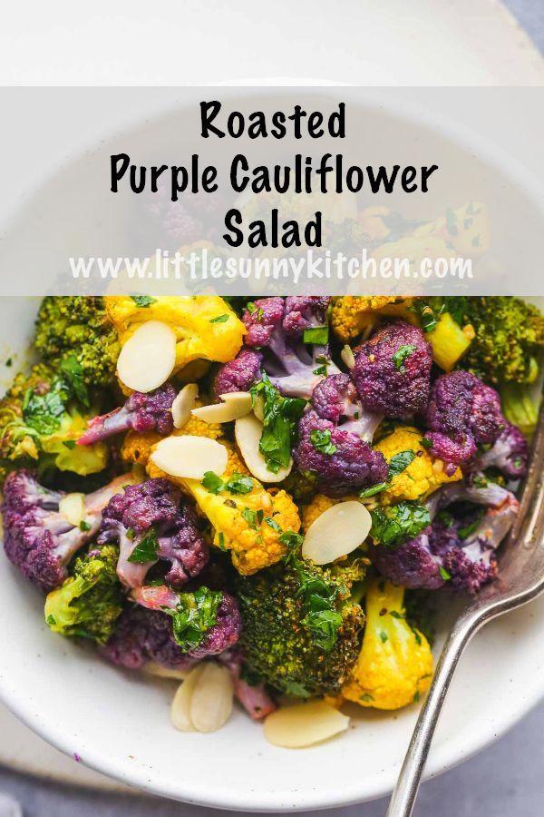 Wintergerösteter lila Blumenkohlsalat mit verschiedenen Blumenkohlsorten …   – Schnelle, vegetarische Rezepte