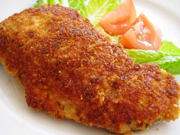 Adapted from a recipe in Terrific Chicken: 100 great meals in minutes.  If youre craving crispy chicken, this Mediterranean-style chicken is fairly quick to make and relatively low-fat!  Serve it with a pasta or rice side dish and your favourite salad greens.