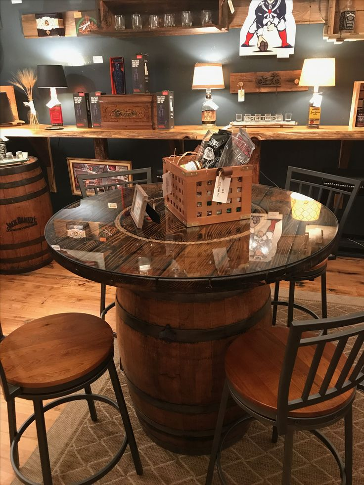 This is a whiskey barrel table I made out of a wine barrel and a wire spook end for the top. Put a glass top on it and my wife picked out the perfect chairs for it. This is for sale in our store, Lynthia Designs.