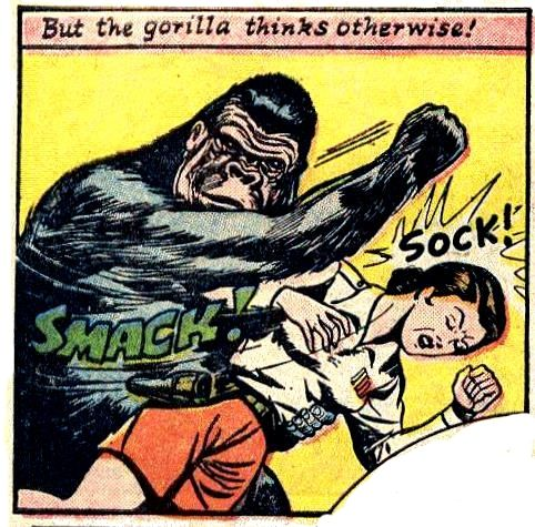 But the gorilla thinks otherwise! Smack! Sock!  pulp comic girl woman dame ape danger hit grab grasp