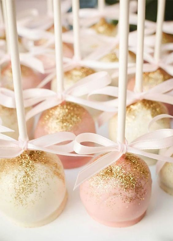 sparkling cake pops make for the picture perfect bite / http://www.himisspuff.com/rose-gold-metallic-wedding-color-ideas/3/