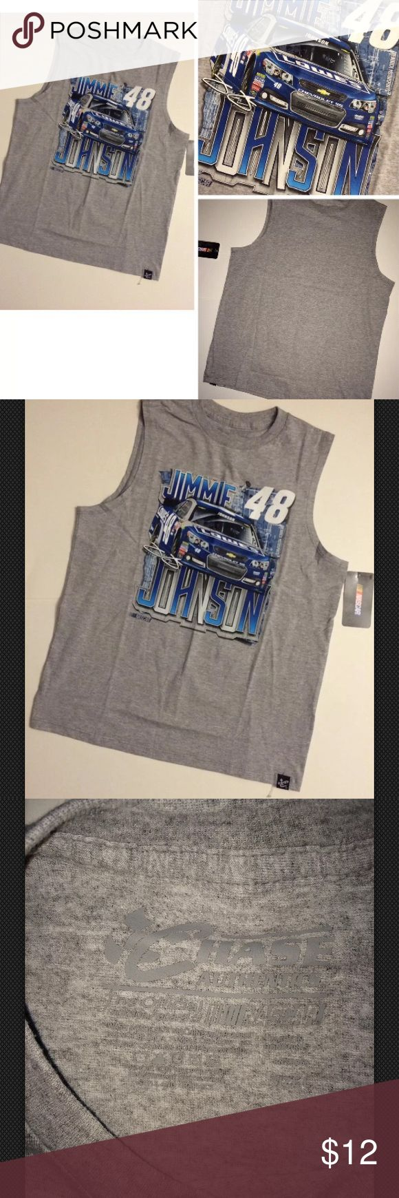 """Jimmie Johnson #48 NASCAR Sleeveless Tank Top For sale:Jimmie Johnson Chase Authentics #48 Lowe's Grey Graphic Crewneck Tee Shirt Youth. Sz Large. Cotton. Sleeveless. Machine wash. Dimensions: pit to pit, approximately 17"""". Length: approximately 22"""". Interested? Nascar Shirts & Tops Tank Tops"""
