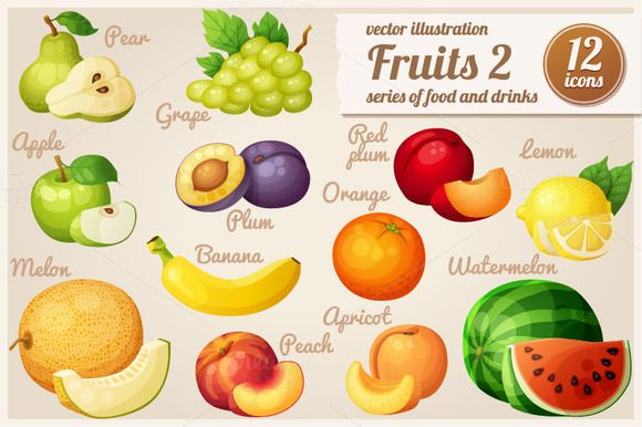 Set of cartoon food icons: Fruits-2 by Ann-zabella on @creativemarket