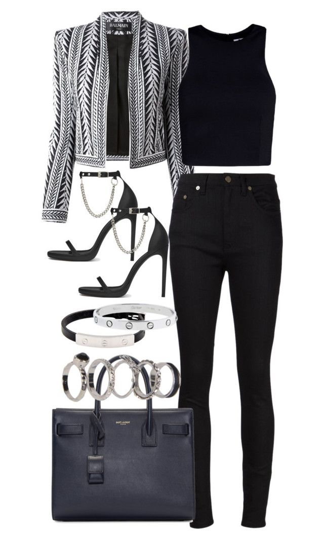 """Untitled #3538"" by plainly-marie ❤ liked on Polyvore featuring Yves Saint Laurent, Balmain, T By Alexander Wang, Boohoo, Cartier, women's clothing, women's fashion, women, female and woman"
