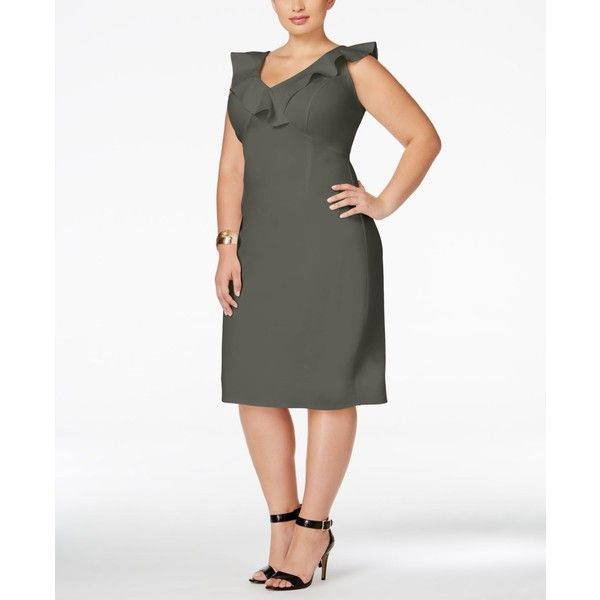 Love Squared Plus Size Ruffled Bodycon Dress ($59) ❤ liked on Polyvore featuring plus size women's fashion, plus size clothing, plus size dresses, dark grey, plus size going out dresses, plus size body con dresses, plus size bodycon dresses and womens plus dresses