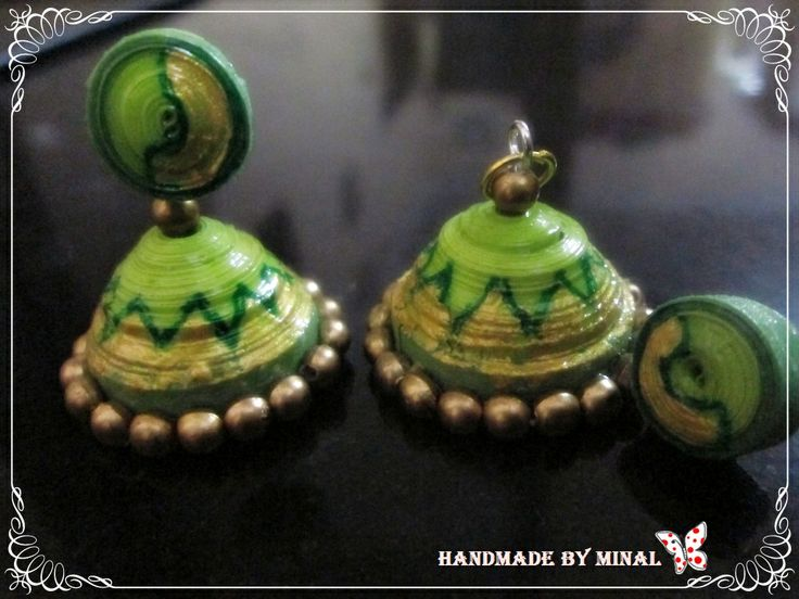 green stud jhumka by chocolates and creativity corner