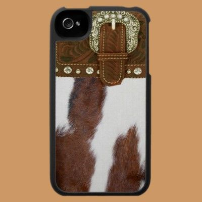 """""""Cowhide & Leather"""" Western IPhone 4 Case  Don't really care for iPhones, but..  if I had an iPhone, this would definitely be my case!"""