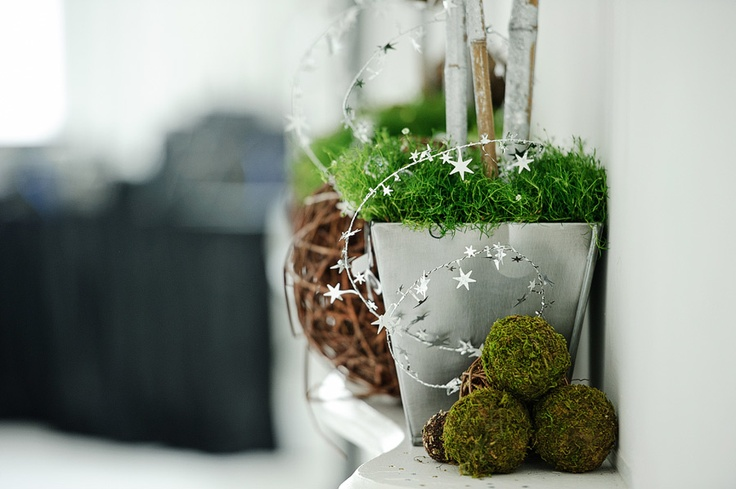 Wicker balls and steel planter decor