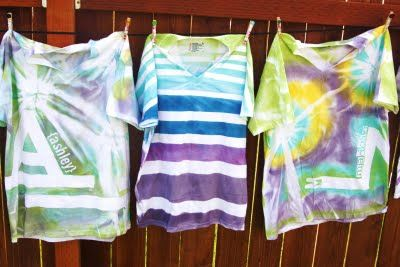 tape and spray paint t-shirts
