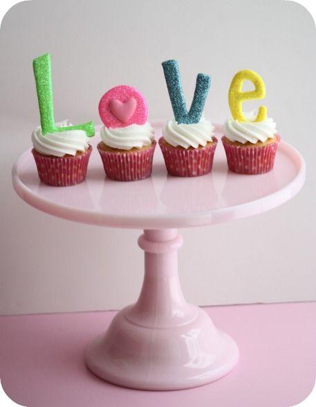 ... vanilla cupcakes... vanilla buttercream frosting...glittery letters