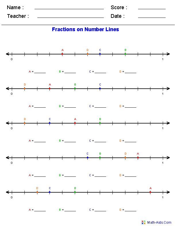 Number line worksheets for addition, subtraction, fractions, decimals, and mixed numbers