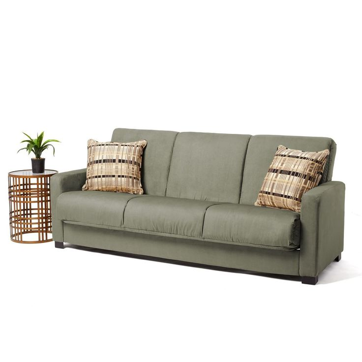 Traditional 3 Seater Sleeper Sofa Microfiber Futon Pillows Included Wooden  Legs #ComfySofasCollection #Traditional