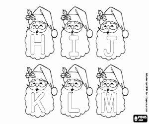 Pintar Alfabet de Nadal, lletres de Pare Noel. Majúscules de la H a la M a la barba de Santa Claus