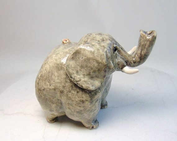 Elephant and Mouse Sculpture - Pottery Animal Sculpture - Pachiderm - Hand Built Pottery - Pinch Pot Animal