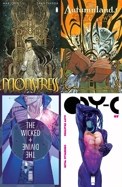BEST COMICS: 2015!___ ⬤ MONSTRESS, by Marjorie Liu and Sana Takeda; THE AUTUMNLANDS, by Kurt Busiek, Benjamin Dewey, and Jordie Bellaire; THE WICKED AND THE DIVINE, by Kieron Gillen and Jamie McKelvie; ODY-C, by Matt Fraction and Christian Ward.___ ➜ Click the pic to discover many more