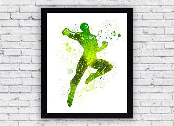 Green Lantern watercolor print Green Lantern by Toons4Fun on Etsy