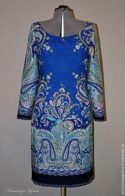 """Платье из платка """"Караван-2"""" с кружевом и бисером. - синий,орнамент,платье из платка"""