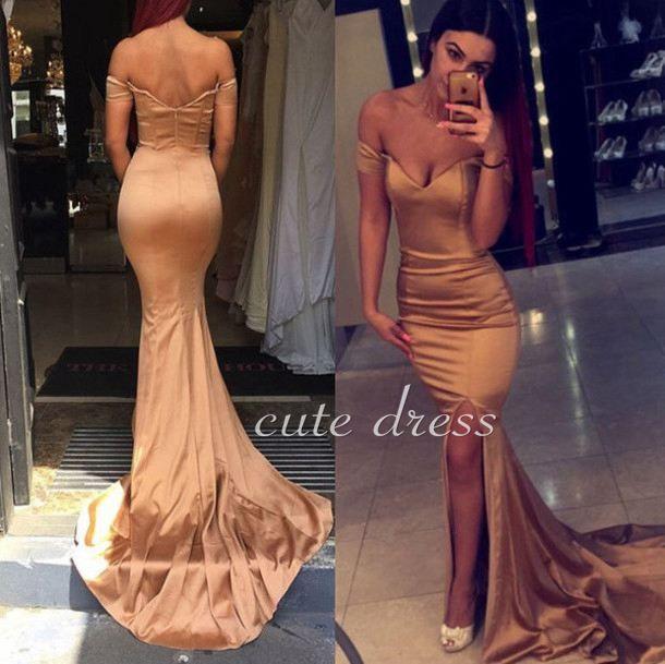 Champagne satin mermaid long prom dresses for teens, formal dress, modest prom dress long