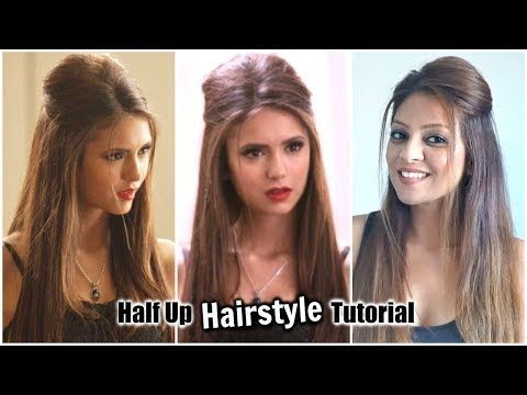 Half Up Half Down Hairstyle Tutorial Inspired by Nina Dobrev│Easy Front Puff Hairstyle for Long Hair