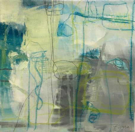 """Jennifer Rivera, """"Docked In the Sand"""",2"""" X 12"""", acrylic graphite and pastel stick on canvas"""