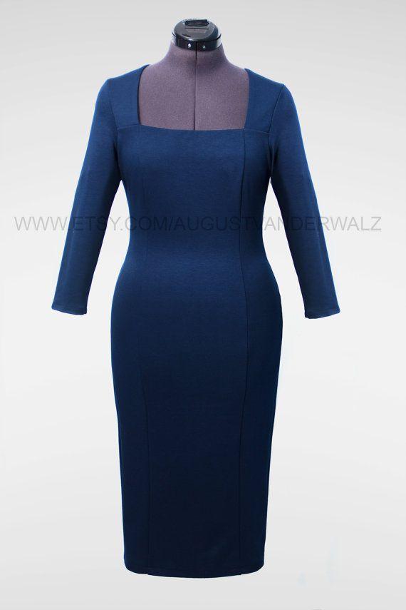 Blauwe jurk passende jurk business casual door AugustVanDerWalz