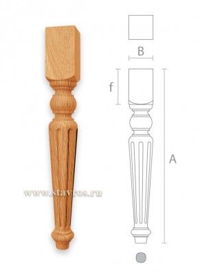 мебельная ножка с канелюрами из дерева MN-030