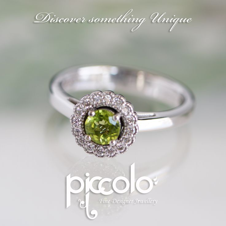 "Anoushka | ""I didn't give you the gift of life, life gave me the gift of you…"" Peridot surrounded by a flower halo of Diamonds, set in White Gold Spoil your loved one with a birthday gemstone 