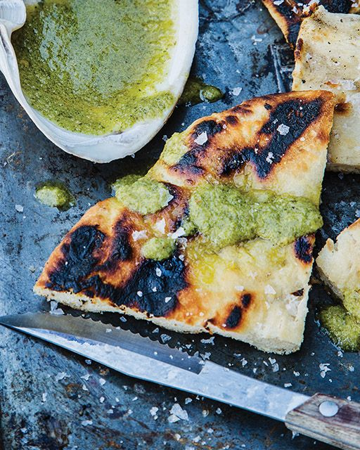 Grilled Naked Pizza with Cilantro/Lime Oil - http://www.sweetpaulmag.com/food/grilled-naked-pizza-with-cilantro-lime-oil #sweetpaul