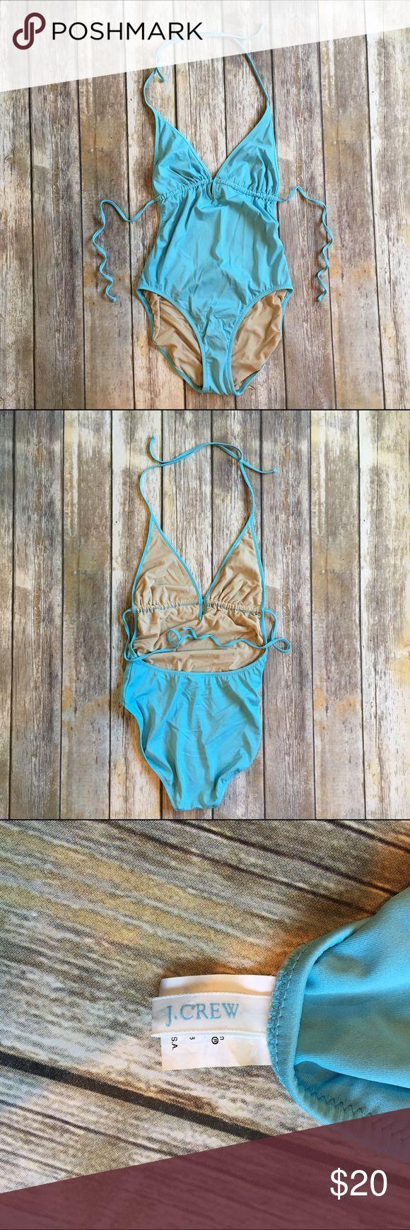 "J Crew blue 14 halter swimsuit J Crew blue 14 halter swimsuit. In great condition. Bust 13"", length 30"". 81% nylon 19% Lycra. J. Crew Swim One Pieces"
