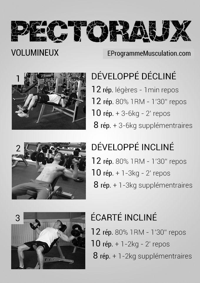 1000 id es sur le th me programme pectoraux sur pinterest for Musculation volume