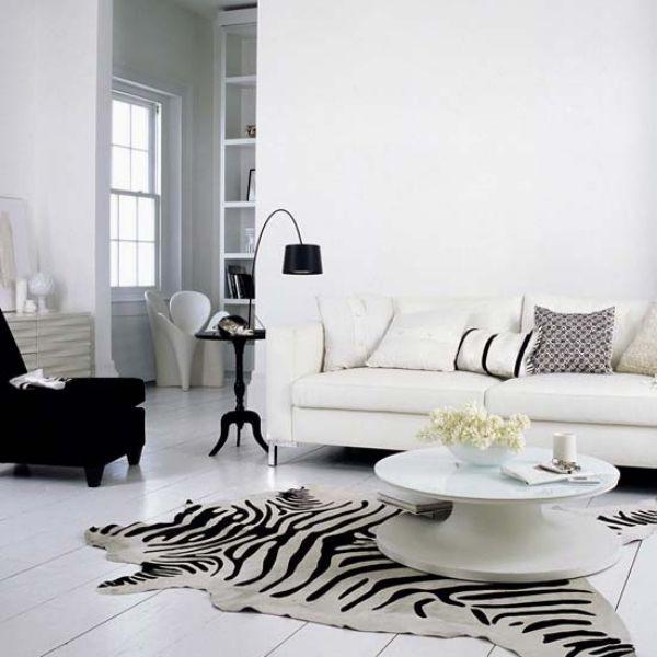 Modernes Wohnzimmer Wohnideen Teppich Zebra Streifen