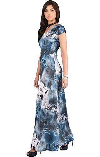 4cc879e93f07 Review KOH KOH Women Long Cap Short Sleeve Floral Print V-Neck Boho Flowy  Summer Casual Formal Sexy Sundress Sundresses Gown Gowns Maxi Dress Dresses