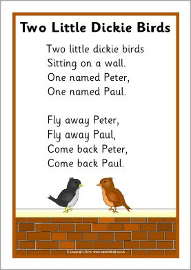 Two Little Dickie Birds rhyme sheet (SB10961) - SparkleBox