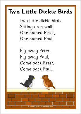 Two Little Dickie Birds rhyme sheet (SB10961) - SparkleBox
