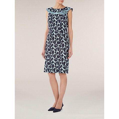 Buy Jacques Vert Circle Print Bardot Shift Dress, Blue Online at johnlewis.com