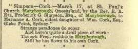 """2 April 1881 Marriage of Frederick Simpson Esq to Marianne A Cork. """"The Bulletin"""""""