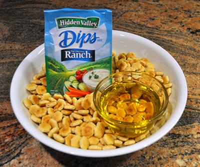 my favorite snack food (oyster crackers+0.4 cup olive oil+ranch dressing mix= a cheap and healthier chip alternative)