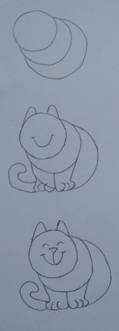Kids art. Elementary drawing lessons - the drawings of cats by luna nightshade