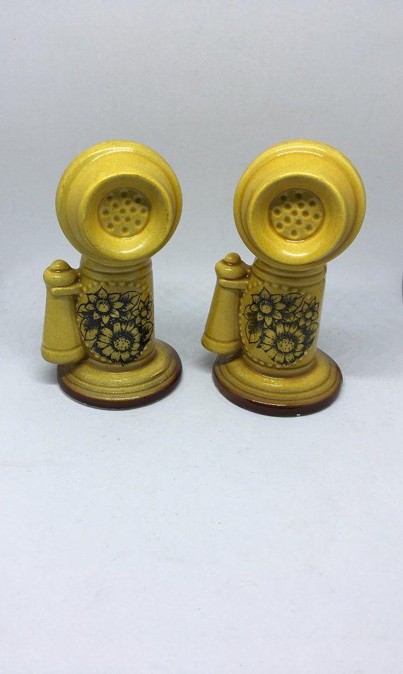 Vintage Salt And Pepper Shakers Telephone Scottish