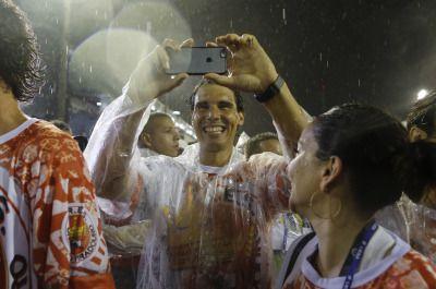 Rafael Nadal takin a selfie at Carnivale, just like every fun-loving young man.