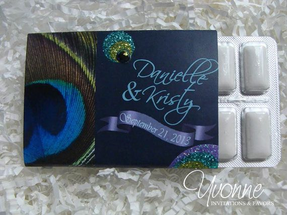 Peacock Grandeur Gum Favors for Wedding and by CandyBarBoutique, $1.99