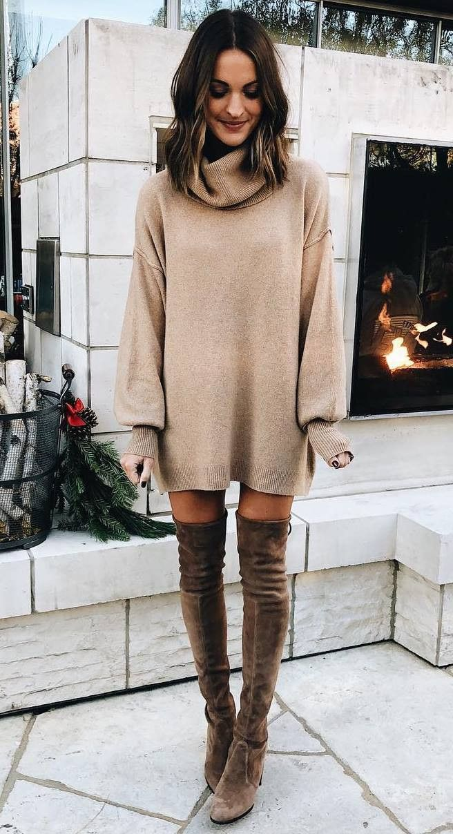 c893d28e8b9 simple outfit idea for thanksgiving day   beige sweater dress and over knee  boots