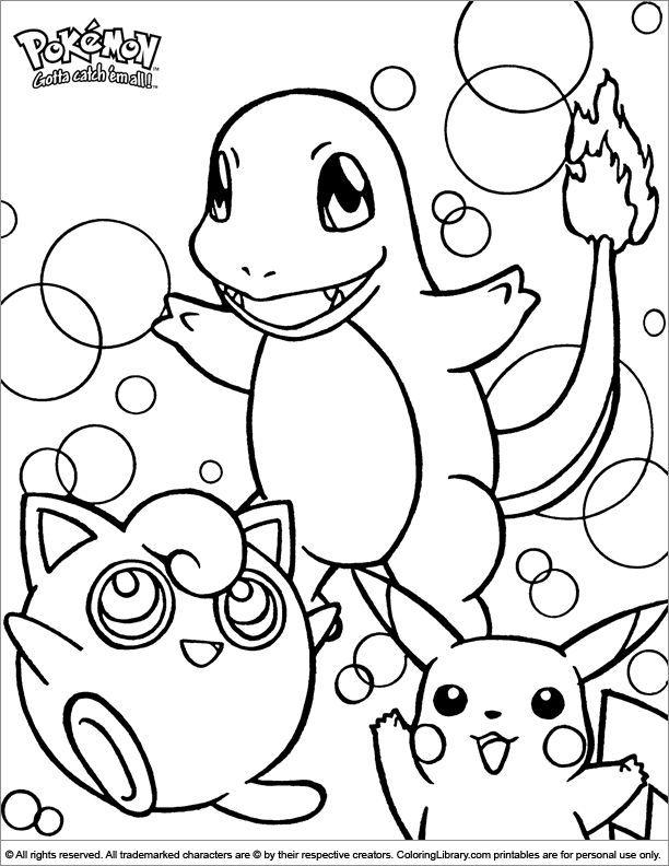 Kleurplaat Chimchar Turtwig Piplup Pikachu Pokemon Coloring Page