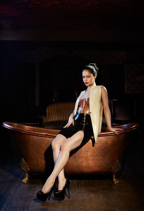 Kirsten Li Designs latex shot by Kat Bret, model Ashley Bad    #kirstenlidesigns #kld #kirstenli #ashleybad #latex #missashleybad #rubber #latex #fashion