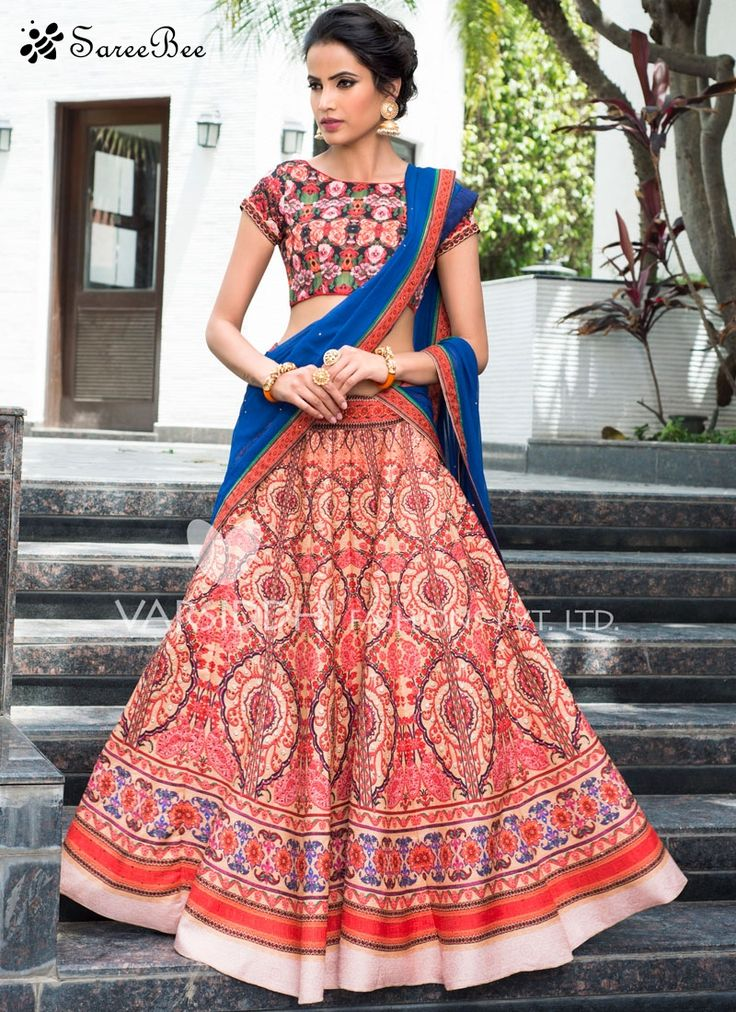 Fashionable Art Silk Multi Colour Lehenga Choli Its a master piece in its class glorifying your timeless beauty. Be the sunshine of every person's eyes dressed in this gorgeous multi colour art silk lehenga choli. The fantastic attire creates a dramatic canvas with wonderful lace, print and stone work. Comes with matching choli and dupatta.