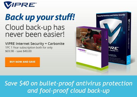 VIPRE Internet Security 2015 & Carbonite discount