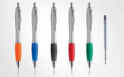 PENNE STEEL Penna a sfera con inchiostro nero o blu tipo parker, personalizzata con stampa ad 1 colore a scelta.
