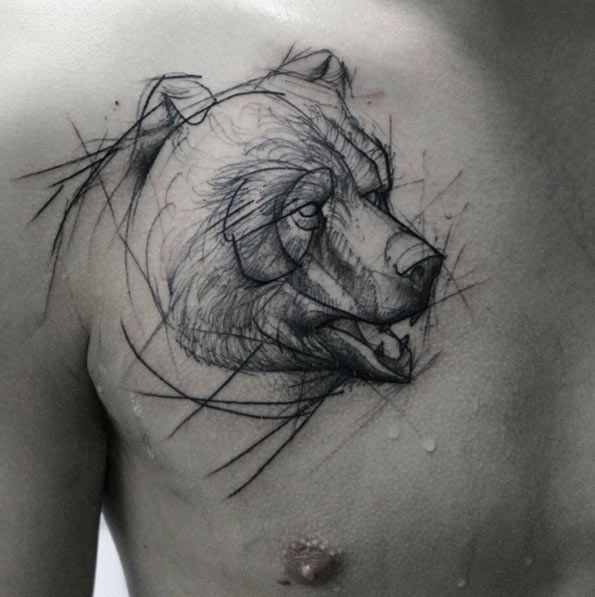 Sketch Style Bear Tattoo by Kamil Mokot